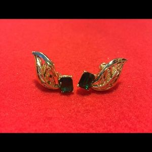 Vintage Coro Green Rhinestone Earrings Screwback